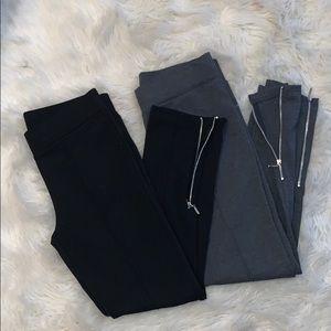 2 Pair of Large Ankle Zip Leggings in Black/Gray